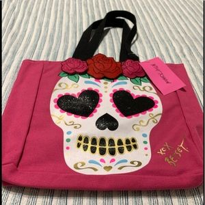 Betsey Johnson Sugar Skull Canvas Tote